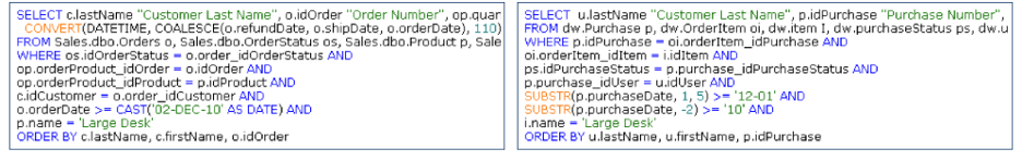 Extract Data from source data stores(Left) Extract Data from target Data Warehouse (Right)