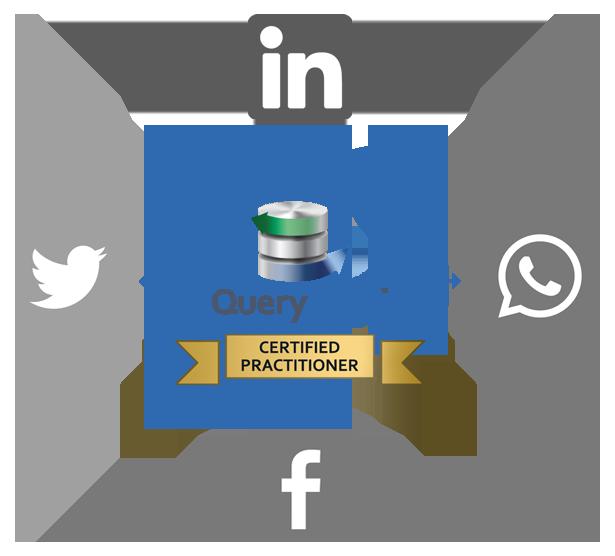 Qs badge social media arrows